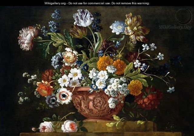 Still Life Of Roses, Variegated Tulips, Convolvuli, Peonies And Other Flowers In An Elaborate Terracotta Bowl, Resting On A Stone Socle - Pieter Casteels III