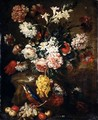 Still Life Of Various Flowers In A Basket, Together With Grapes, Crab-Apples And A Kingfisher - (after) Bartolommeo Bimbi