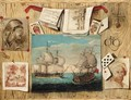 Trompe L'Oeil Still Life With Various Prints, Playing Cards And Drawings, Against A Pine Background - French School