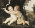 Saint John The Baptist And Infant Christ Playing In A Landscape - Italian School