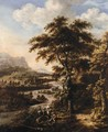 Landscape With Travellers Resting Above A River Valley - Dionys Verburgh