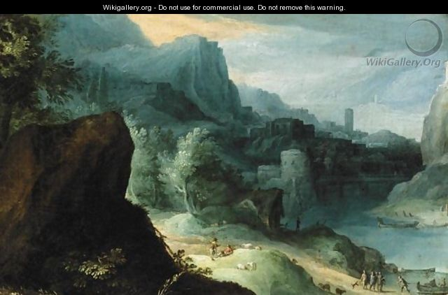 Extensive River Landscape With Figures Beside A Road - (after) Paul Bril