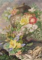 An Urn, Garlanded With Flowers, On A Terrace, With Shells In The Foreground - Herman Henstenburgh