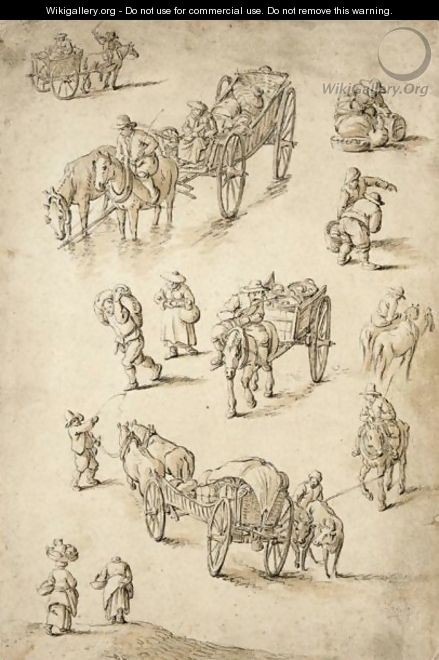 Sheet Of Studies Of Peasants, Riders And Waggons - Herman Saftleven