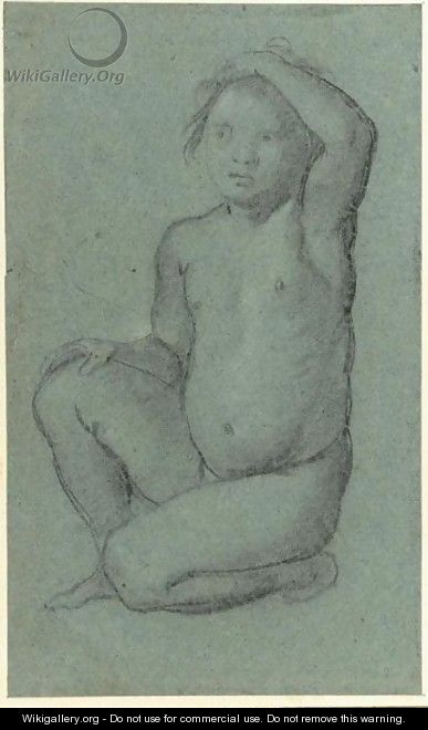 Study Of A Crouching Nude Boy With His Hand On His Head - Dutch School