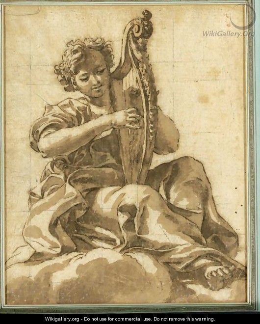 An Angel Seated In The Clouds Playing A Harp - Giovanni Battista (Baciccio) Gaulli