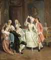 A Merry Company Making Music And Dancing In A Roccoco Interior - German School