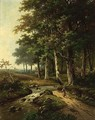 A Wooded Landscape With A Woman Travelling Near A Stream - Hendrik Pieter Koekkoek