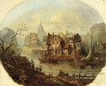 Fantasy Views Of Towns At A Waterside, Mountains Beyond - French School
