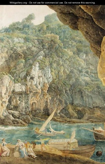 A Rocky Landscape With Figures By A River And Boats - Abraham Louis Rudolph Ducros