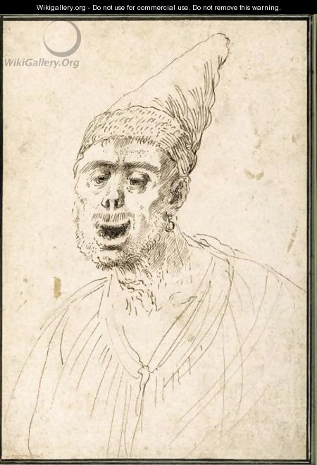 Caricature Of A Man In A Pointed Hat - Giovanni Francesco Guercino (BARBIERI)