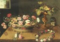 Flowers In A Basket, Monkey And Flowers Wreath - Jan, the Younger Brueghel