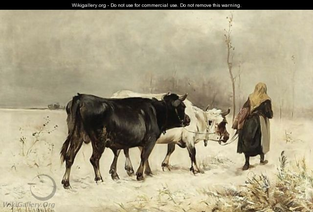 A Peasant Woman With Her Cattle In A Winter Landscape - Henry Schouten