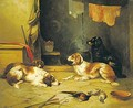 Spaniels And Terriers In Interiors A Pair Of Paintings - English School