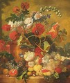 Sill Life Of Various Flowers In A Terracotta Vase - (after) Jan Van Os