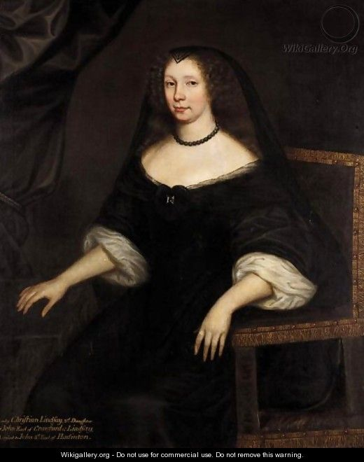 Portrait Of Lady Christian Lindsay, Wife Of John, 4th Earl Of Haddington - (after) David Scougall