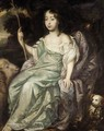 Portrait Of A Girl Holding An Houette, Sheep And A Small Dog Beside - (after) Sir Peter Lely