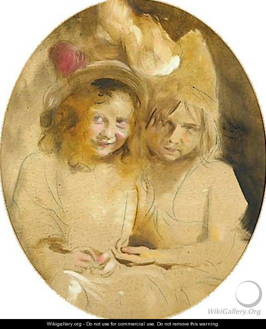 Portrait Of Two Young Girls Said To Be The Artist