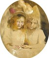 Portrait Of Two Young Girls Said To Be The Artist's Daughters - Franz von Lenbach