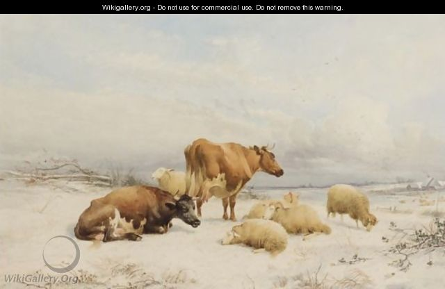 Winter - Sheep And Cattle - Thomas Sidney Cooper