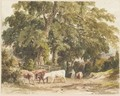 A Drover And Cattle In A Wooded Lane - Robert Hills