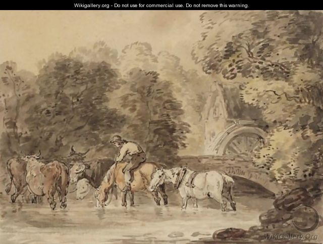 A Figure Watering His Cart Horses In A Stream - Thomas Rowlandson