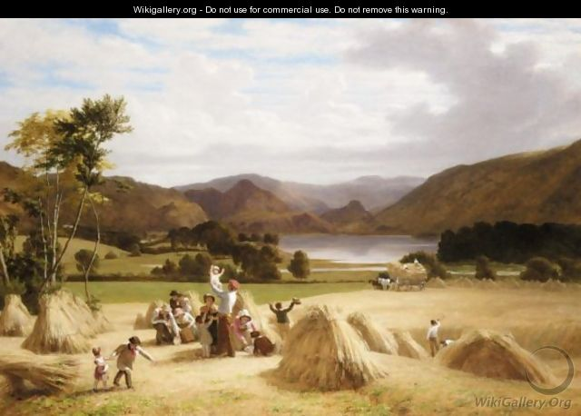 Harvesting, Near Derwentwater, Cumberland - William Frederick Witherington