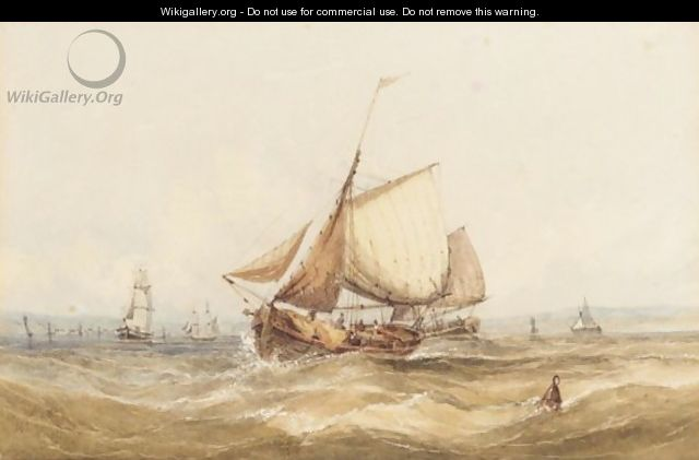 Shipping In A Rough Sea - William Adolphus Knell