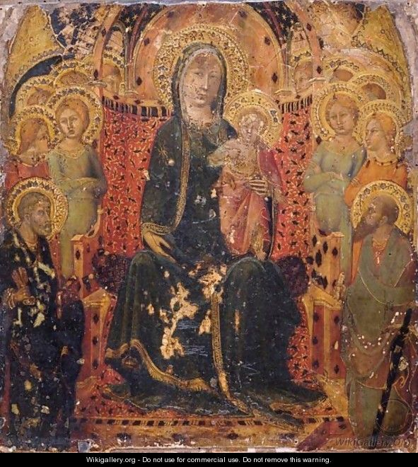Madonna And Child Enthroned Flanked By Saints Peter And Paul And Angels - Sienese School