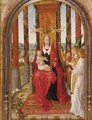 Virgin And Child Enthroned With Singing Angels Looking On, A River Landscape Beyond - School Of Bruges