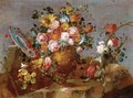 Still Life Of Flowers In A Vase Resting On A Stone Ledge With A Plate Of Cherries - The Pseudo-Guardi