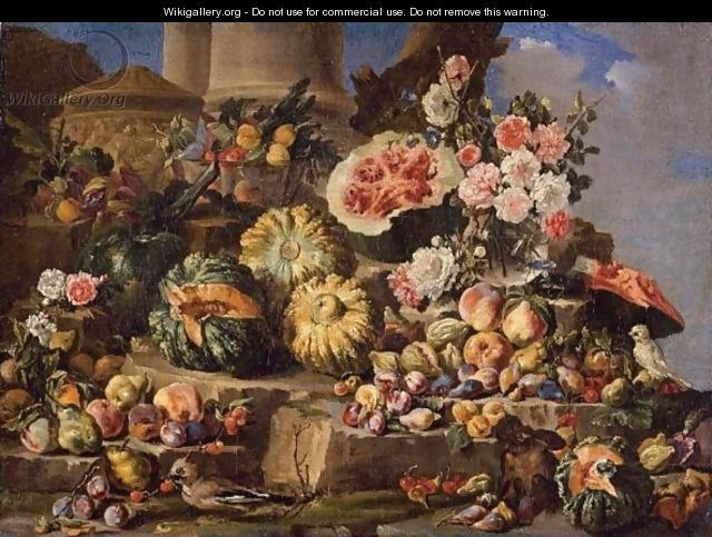 Still Life Of Fruit And Flowers On A Stone Ledge With Birds And A Monkey - (after) Michele Pace Del (Michelangelo Di) Campidoglio