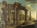 Architectural Capriccio With Figures By A Port - (after) Leonardo Coccorante