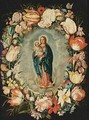 The Virgin Mary And Child Surrounded By A Garland With Tulips, Carnations, Roses And Other Flowers - Antwerp School