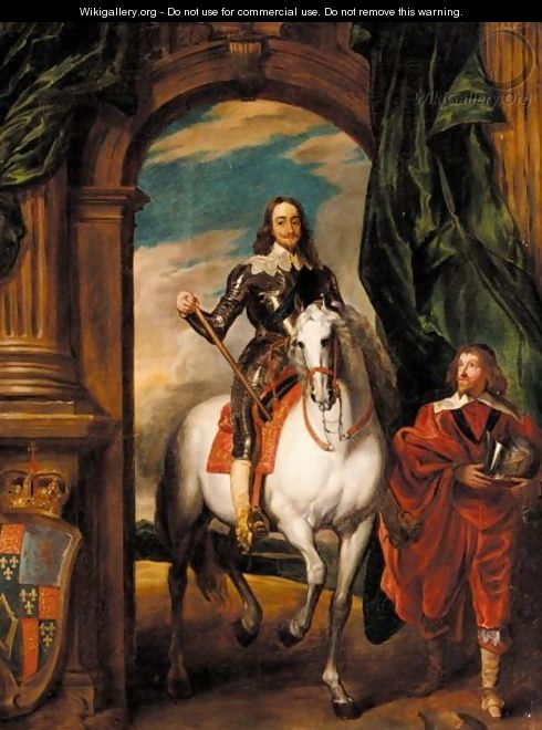 Equestrian Portrait Of King Charles I Accompanied By Monsieur De St. Antoine - (after) Dyck, Sir Anthony van