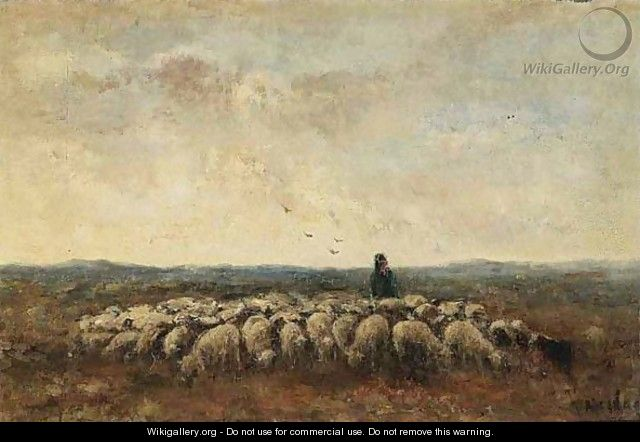 A Shepherd With His Flock - Taco Mesdag Kzn
