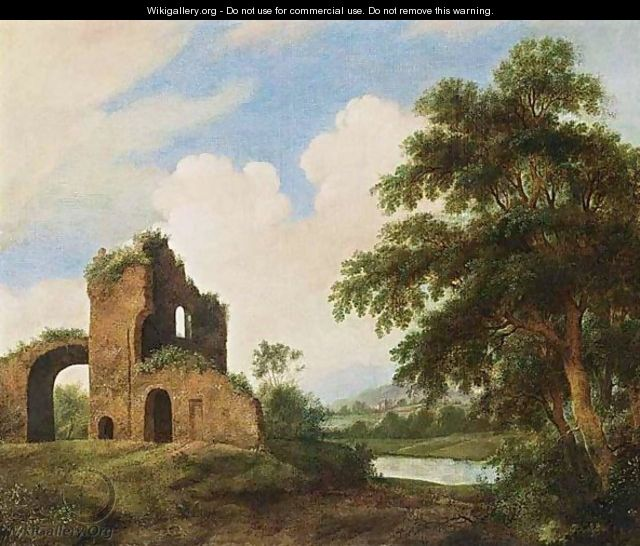 A Wooded River Landscape With Ruins - Dutch School