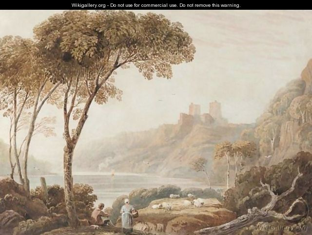 Figures With Sheep By A Lake, A Castle On A Hill Beyond - John Varley