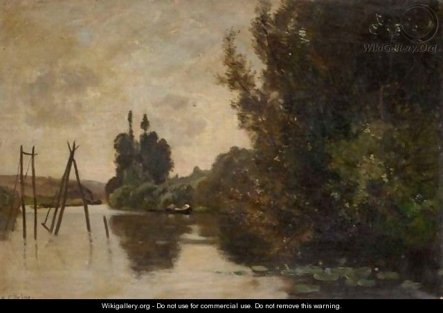 River Landscape At Sunset - (after) Hippolyte Camille Delpy