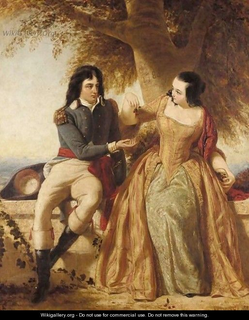 A Lady And Gentleman Seated Under A Tree, Said To Be The Count And Countess Rapp - Charles Lucy