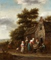 A Landscape With Peasants Selling Chickens Outside A Cottage - Barend Gael or Gaal