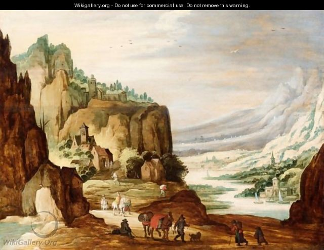 A Mountainous River Landscape With Travellers On A Path In The Foreground - (after) Joos De Momper