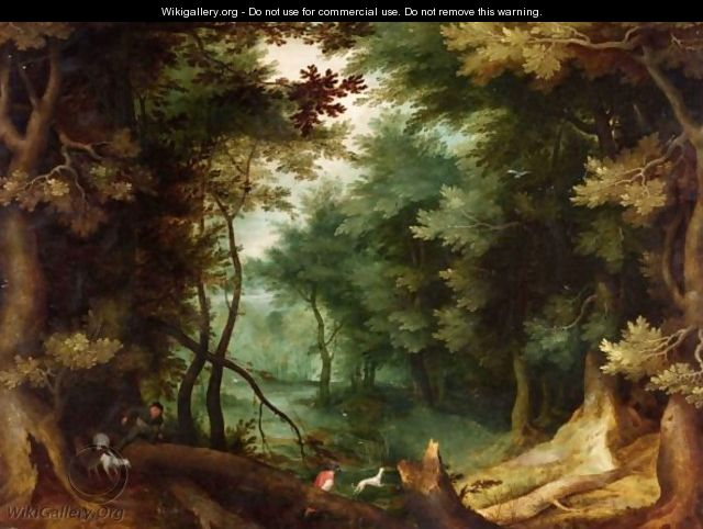 A Wooded Landscape With Hunters And Their Dogs. - (after) Jan The Elder Brueghel