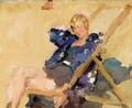 A Lady In A Beach Chair - Isaac Israels