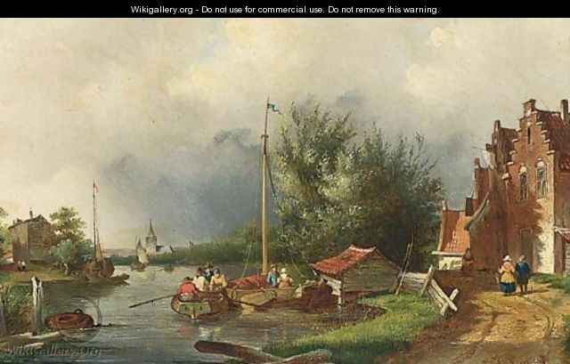 A Summer Landscape With Boats On A River - Charles Henri Leickert
