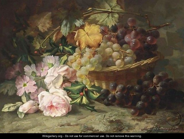 A Still Life With Roses And Grapes - Margaretha Roosenboom