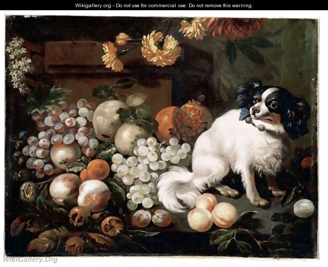 A Still Life Of Peaches, Grapes Pears And Other Fruits With A Dog - French School