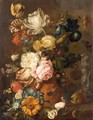 A Still Life With Roses, Irises, Tulips, Primroses, And Various Other Flowers In A Terracotta Urn On A Stone Ledge - (after) Huysum, Jan van
