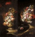 Still Lifes Of Various Flowers In Vases Resting On Flat Stones - (after) Gasparo Lopez