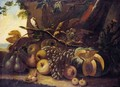 A Still Life Of Grapes, Pears, Apples, Cherries, A Melon, And A Songbird In A Landscape - North-Italian School